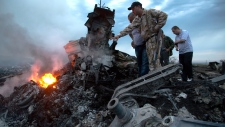 People inspect the crash site of a passenger plane