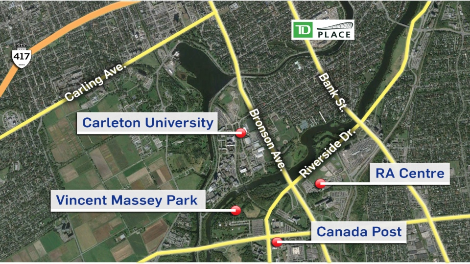 Free shuttle buses are running from Carleton University, the RA Centre, Canada Post, and Vincent Massey Park to TD Place.