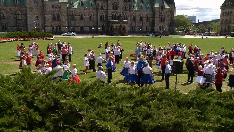 Square dancers on Parliament Hill, Wednesday, July 17, 2014
