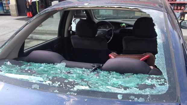 Airdrie hail - July 17 - Car window
