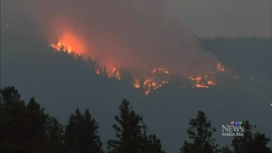 A wildfire burns in B.C. in this undated file photo.