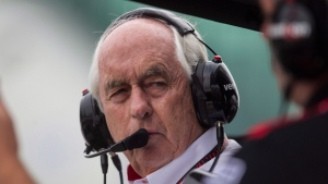 Roger Penske, owner of Team Penske, stands in the pits during a qualifying session for the Toronto Indy in Toronto on Saturday, July 19, 2014. (Chris Young / THE CANADIAN PRESS)