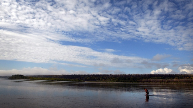 Sheen on Athabasca river likely due to algae