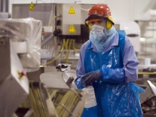 A Maple Leaf Foods worker clad in protective clothing sprays down equipment on one of the suspect food processing lines at the facility in Toronto on Thursday, Aug. 21, 2008. (THE CANADIAN PRESS / Frank Gunn)