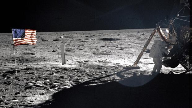 Apollo 11 astronaut Neil Armstrong on the lunar surface,  July 20, 1969. (NASA, Buzz Aldrin)