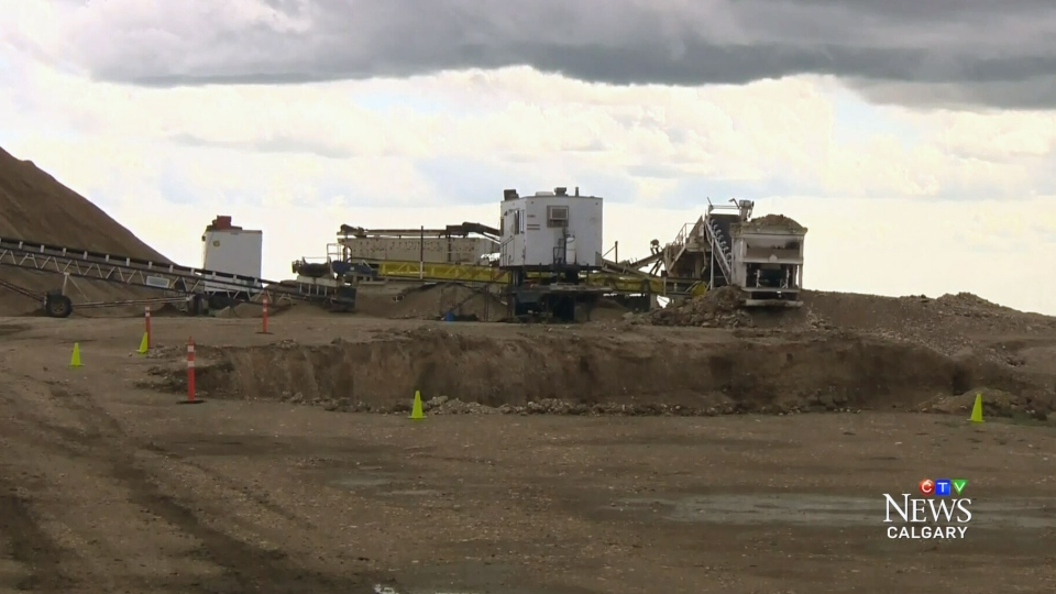 A 15-year-old died after being caught in a gravel crusher on this construction site near East Coulee, Alberta.