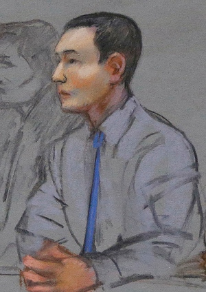 In this May 13, 2014 courtroom sketch, defendant Azamat Tazhayakov, a college friend of Boston Marathon bombing suspect Dzhokhar Tsarnaev, sits during a hearing in federal court in Boston. (AP / Jane Flavell Collins)