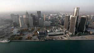 In this Nov. 2, 2005 file photo, the Detroit skyline is shown along the Detroit River. (AP / Paul Sancya, File)