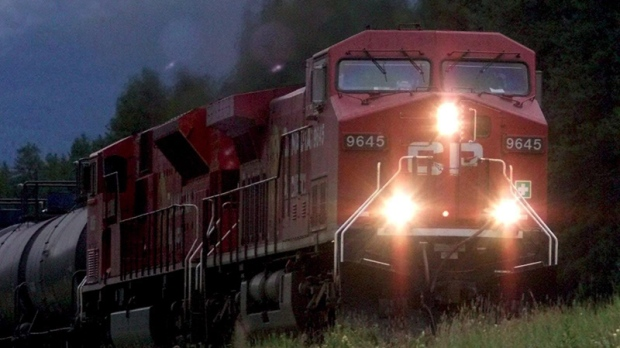 A Canadian Pacific Railway train makes its way through the rockies between Banff and Lake Louise, Alta., Tuesday August 28, 2001.