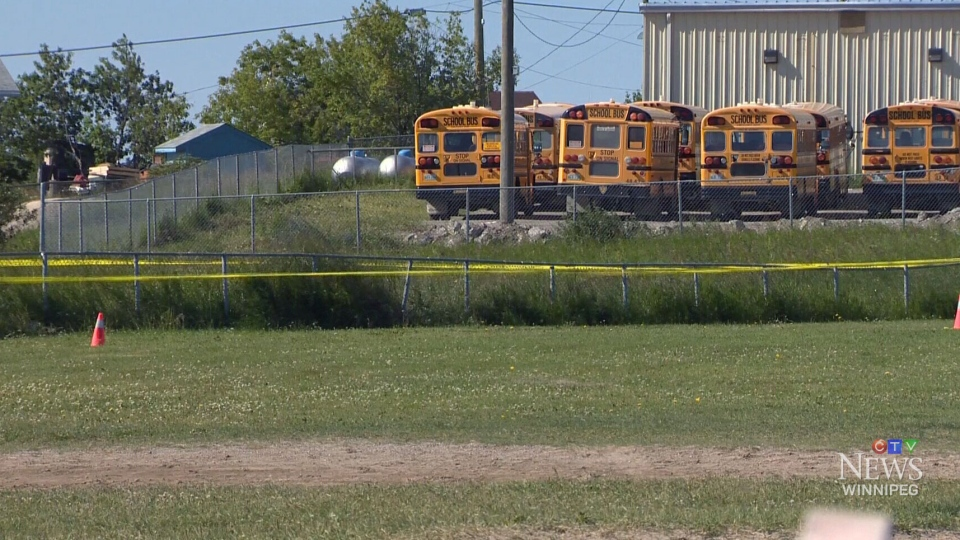 The Norway House baseball diamond is shown taped off in this photo from Monday, July 21, 2014.