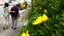 Shirley Rexrode, left, assists her father, Hsien-Wen Li, who is an Alzheimer's patient, with his daily walk, in San Francisco, in this photo taken Thursday, Sept, 1, 2011. (AP / Ben Margot)