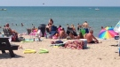 Enjoying the hot weather at the main beach in Grand Bend, Ont. on Tuesday, July 22, 2014. (Gerry Dewan / CTV London)