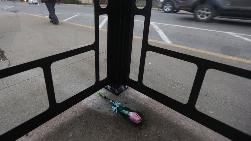 A single rose in memory of Harley Lawrence is shown inside a bus shelter along Commercial Street in Berwick, Nova Scotia on April 25, 2014. (THE CANADIAN PRESS / Mike Dembeck)