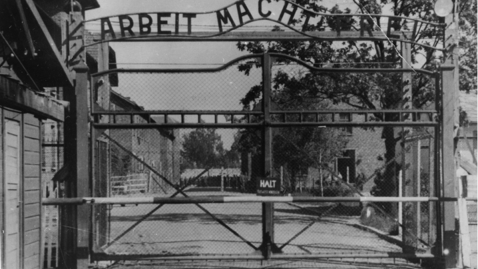 This undated image shows the main gate of the Nazi concentration camp Auschwitz I, Poland, which was liberated by the Russians in January 1945. (AP Photo)