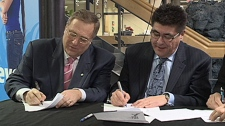 The city signed an agreement today with the First Nations University and the Saskatchewan Indian Institute of Technology to give First Nations students unlimited city-wide access to the transit system.
