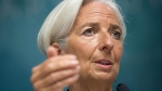 International Monetary Fund (IMF) Managing Director Christine Lagarde gestures while speaking during a news conference, at IMF headquarters in Washington, Monday, June 16, 2014. (AP / Pablo Martinez Monsivais)