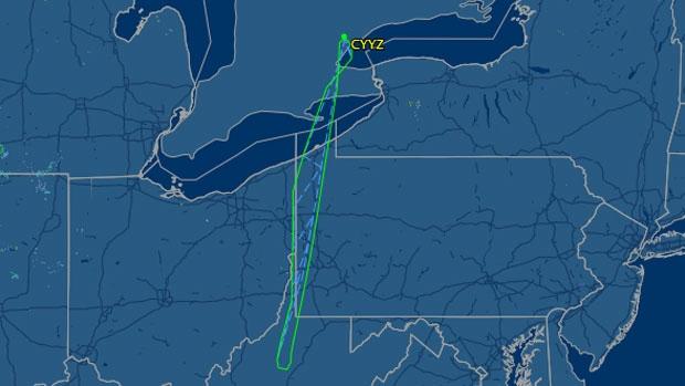 The flightpath of Sunwing flight 772 is shown on Friday, July 25, 2014. (flightaware.com)