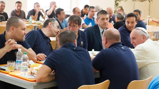 Pope Francis eats at Vatican cafeteria