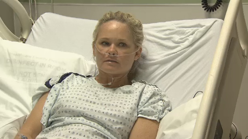 Charmaine Mitchell said she fell three metres and broke her back after being hit by a cyclist. (CTV)