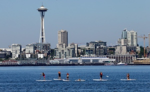 The Space Needle is shown amid Seattle's skyline on Wednesday, July 16, 2014. (AP / Elaine Thompson)
