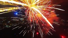 Incredible fireworks footage shot on a drone-mounted camera has been viewed more than 9 million times online. (YouTube)