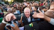 Mayor Rob Ford makes his way through thousands of people at Ford Fest in Toronto on Friday, July 25, 2014. (Darren Calabrese / THE CANADIAN PRESS)