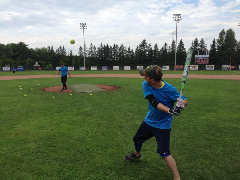 Tampa Bay Lightning captain Steven Stamkos pitches a ball to a friend a charity slow-pitch game in Midhurst on Saturday July 26, 2014. (K.C. Colby / CTV Barrie)