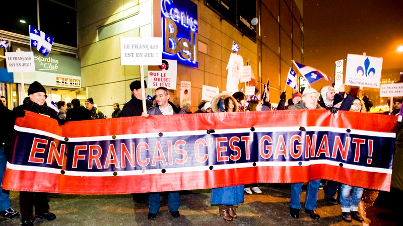 Pro-French language protesters rally outside the Bell Centre in Montreal, Saturday, January 7, 2012, during a demonstration denouncing the recent appointment of the unilingual head coach of the Montreal Canadiens hockey team. THE CANADIAN PRESS/Graham Hughes