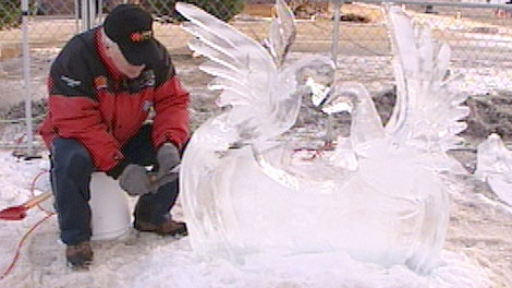 The warm weather proved a challenge for ice carvers at the Deep Freeze festival.