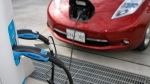 Electric Nissan Leaf, belonging to rent a car company Autoshare, charging batteries at Brickworks on Bayview Ave. in Toronto, on October 25, 2011. (Fernando Morales / The Globe and Mail)