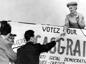 Therese Casgrain, president of the League for Women's Rights in Quebec from 1929 to 1942 is pictured during an election run in this 1967 file photo. (The Canadian Press)