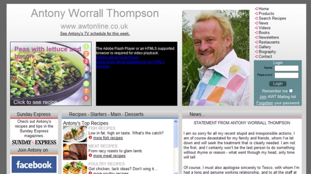 The front page of Antony Worrell Thompson's website, including his shoplifting apology is shown on Jan. 9, 2012.