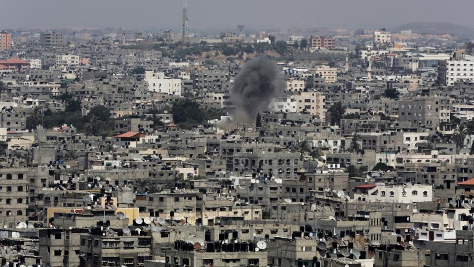 Smoke from Israeli air strike in Gaza City