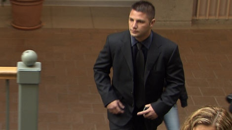 Jarrod Bacon is shown at Surrey provincial court in a file image. (CTV)