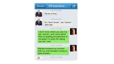 This screengrab shows a Twitter exchange between Treasury Board President Tony Clement and 15-year-old Keith Pettinger, of Parry Sound.