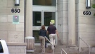 People are seen walking into Lachine Hospital in Montreal, in this undated image.