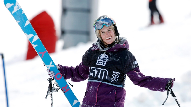 Canadian freestyle skier Sarah Burke reacts after failing to place in the top three finishers in the slopestyle skiing women's final at the Winter X Games at Buttermilk Mountain outside Aspen, Colo., on Thursday, Jan. 28, 2010. (AP / David Zalubowski)