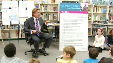 Provincial Education Minister Thomas Lukaszuk presents the 10-point Plan for Education at Dunluce School in Edmonton on Tuesday, January 10.