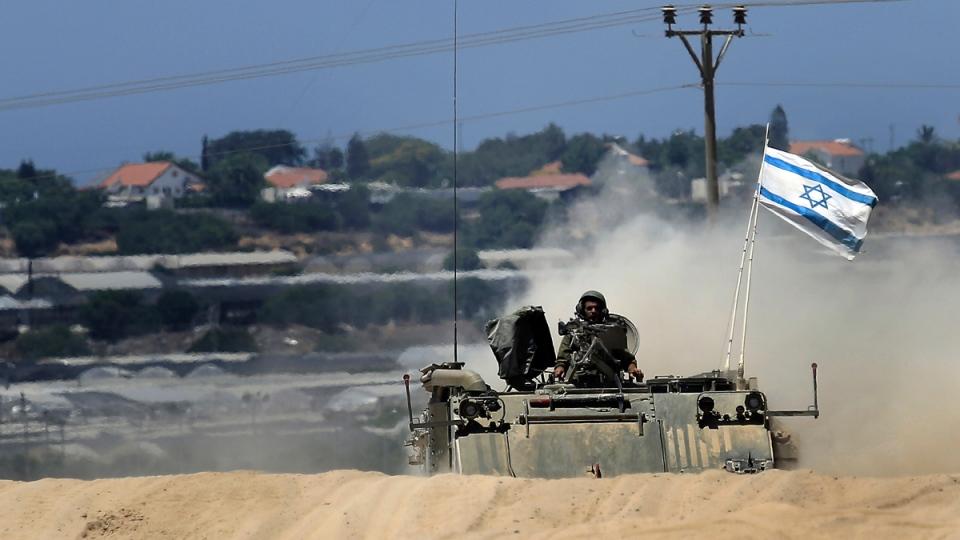 Israeli armored vehicle near Israel Gaza border