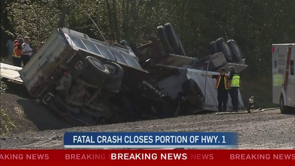 Fatal dump truck crash closes Hwy  1 for hours | CTV News