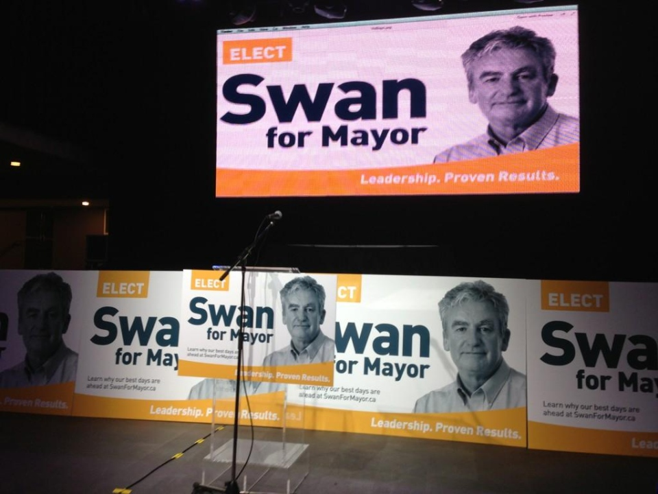 It looks like Councillor Joe Swan's campaign to become the next mayor is ready to go in London, Ont. on Wednesday, July 30, 2014. (Bryan Bicknell / CTV London)