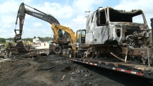 Debris from tractor-trailer fire