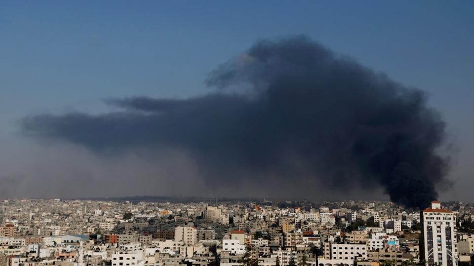 Air strike sends smoke into the Gaza skyline