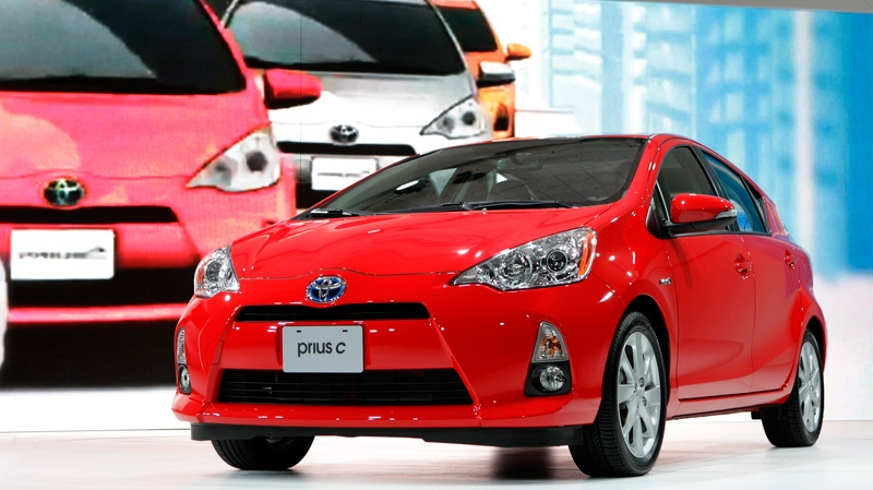 The 2013 Toyota Prius c debuts at the North American International Auto Show in Detroit, Tuesday, Jan. 10, 2012. (AP / Paul Sancya)