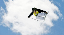 Sarah Burke goes airborne on her way to win the women's halfpipe freestyle title at the World Cup finals in Valmalenco, Italy, on March 12, 2008. (AP / Alessandra Tarantino)