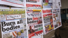 Newspapers on outbreak of Ebola in Liberia