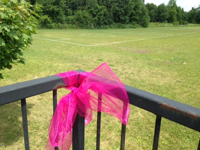 A ribbon marks the spot of a small memorial at the Portuguese Cultural Centre in Bradford on Thursday, a day after a 15-year-old girl died after a soccer net fell on her. (Rob Cooper / CTV Barrie)