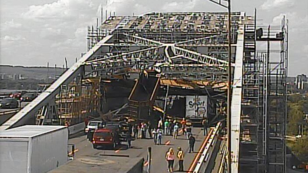 A traffic camera image of the Burlington Skyway is shown after a truck struck scaffolding, shutting down all Toronto-bound traffic Thursday, July 31, 2014.