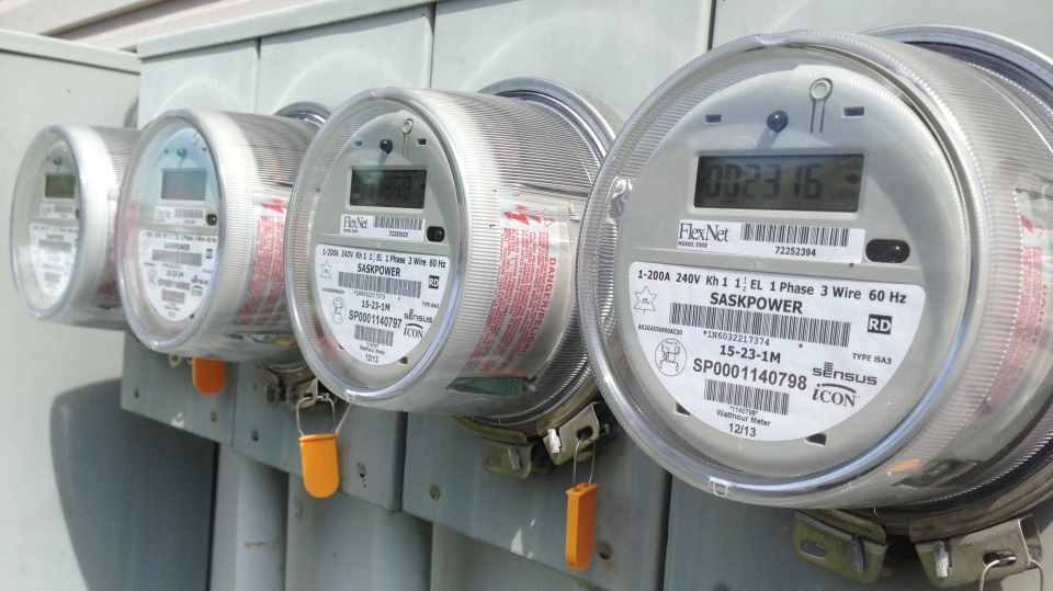 Smart meters are seen in this photo taken July 31, 2014 in Regina.