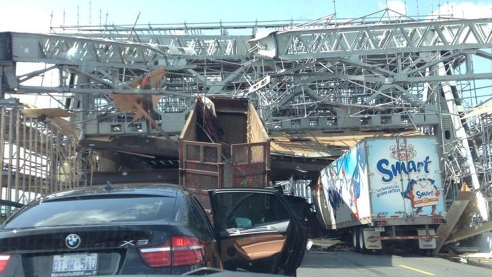 A truck struck is shown after it struck scaffolding in a construction zone at the top of the Burlington Skyway, Thursday, July 31, 2014. (Courtesy: Michael Jilek)